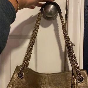 Gucci Bags - GUCCI Metallic Pebbled Calfskin shoulder bag